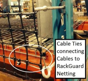 Cable Ties Connecting Cables to RackGuard Netting