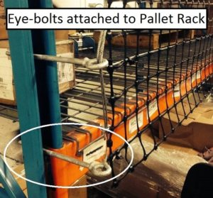 Eye-Bolts attached to Pallet Rack